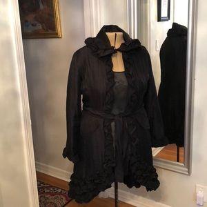 Black ruffled designer hi low jacket